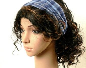 Denim Blue Headband Head Scarf Boho Hippie Fashion Handmade Hair Wrap in Soft Cotton Denim Blue Woven Plaid