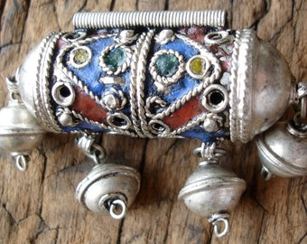 Large Moroccan tarnished enamel focal long barrel bead pendant with bells and plain ends
