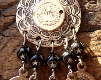 Moroccan  hand engraved black bead coin  large earrings with silver hooks