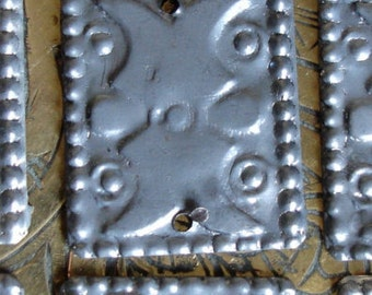 10 x tarnished rectangle metal Turkoaman style discs