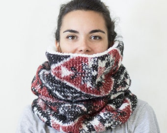 tribal knit cowl, chunky cowl, chunky knit, Snock®