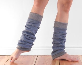 Slouchy dancer leg warmers, ballet leg warmers, cosy cotton steel blue and grey cuffed legwarmers, cotton extra long, gift for dancer