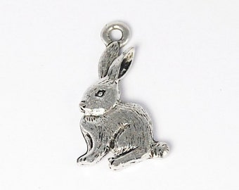 Rabbit Antique Silver Pewter Charm -1