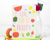 Fruity Valentines Card, Pineapple, Quirky Card, Love Note - Free Postage