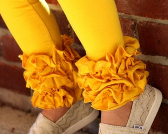 Mustard Ruffle Leggings - Mustard Gold Ruffle Leggings - 2016 Holiday Collection knit ruffle leggings - size 6m to 8 with FREE SHIPPING
