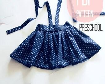 Girls Skirt Pattern Suspender High Waist Vintage Style Skirt Sewing Pattern for Girls Sizes 4T 5 6 Vintage Pattern Quick Easy Sewing Pattern
