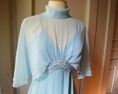 Pale Blue 1970s Maxidress Floor Length Gown With Sheer Cape Top Sexy Disco Dress