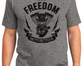 Freedom Motorcycle Men's T-shirt Short Sleeve 100% Cotton S-2XL Great Gift (T-MO-01)