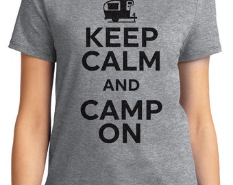 Keep Calm And Camp On Camping Unisex & Women's T-shirt Short Sleeve 100% Cotton S-2XL Great Gift (T-CA-21)