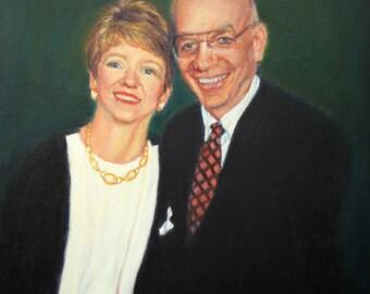"""16"""" x 20"""", Wedding Anniversary Portrait, Custom Portrait from Your Photo, Double Portrait, Portrait Commission, Kim Stenberg, Oil Painting"""