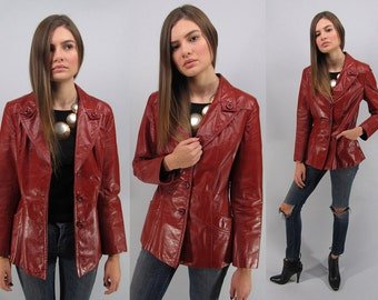 Red leather jacket | Etsy