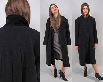 Minimalist Wool Coat, Vintage 80s Black Oversized Coat, Midi Classic Coat, Structured Long Coat Δ fits sizes: sm / md / lg