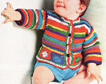 Baby Striped Sweater Crochet Instant Download PDF Pattern