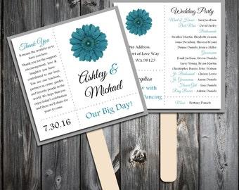 Teal Daisy Program Fans Kit -  Printing Included. Wedding ceremony programs