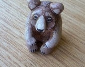 Brown bear animal totem - polymer clay miniature