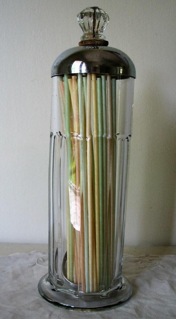 Vintage Straw Dispenser Heavy Glass Antique Retro Diner Soda