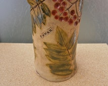 Rowan tree ceramic vase with leaves and berries - Botanical straight vase - Green, brown and red vase