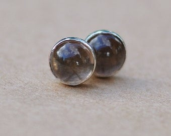 Smokey Quartz Earrings with Sterling Silver Earring Studs, 6mm Gemstones