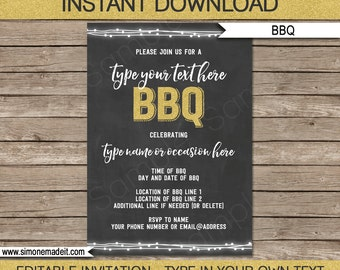 Chalkboard BBQ Invitation Template - for Birthday bbq, Backyard bbq, Housewarming etc - Editable text - you personalize - INSTANT DOWNLOAD