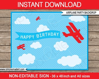 """Airplane Party Sign or Backdrop - biplane - """"Happy Birthday"""" - INSTANT DOWNLOAD - Printable PDF file - 36x48 inches and A0 sizes"""