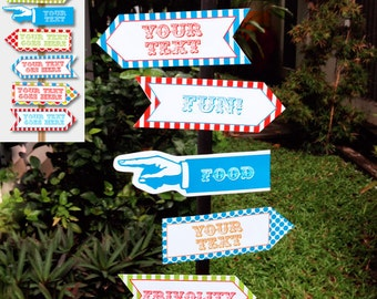 Carnival Signs - Direction Arrows - Carnival Game Signs - Circus Party - Colorful - INSTANT DOWNLOAD with EDITABLE text - comes in 2 sizes