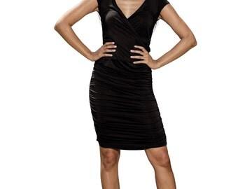 black dress, jersey dress, ruched dress, wiggle dress, v neck dress, wrap dress, midi dress, summer dress