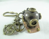 Key Ring,  Steampunk Nautical Divers Helmet and Charms  Mens Womens Gift  Handmde