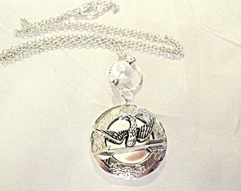 Hunger Games Inspired Peeta's Locket with Pearl Necklace Silver