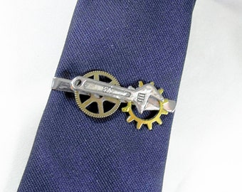Tie Bar Tie Clip,  Mens Steampunk Industrial Gears and Wrench  Mens Accessories Handmade