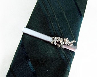 Tie Bar Tie Clip,  Small Silver Elephant Men's Accessories  Handmade