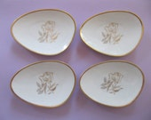 RESERVED  for Michele C - 4 Tiny porcelain china plates 3 x 4-1/4 inches, 11 cm tiny gold trimmed egg shaped plates for snacks, jewelry dish