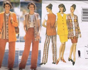 "Butterick 4344 Misses Jacket Vest Skirt Pants ""Fast & Easy Wardrobe"" - Sizes 20 22 24 - UNCUT"
