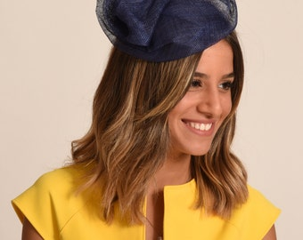 Kate Middleton summer cocktail hat / Navy straw hat / sinamay mini hat /  Ascot hat / royal blue hat