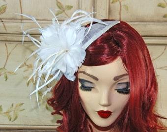 Ivory Wedding Fascinator - Cream Bridal Hat - British Tea Party Hat - Bridal Fascinator Hat - Kentucky Derby Hat - Feather Fascinator