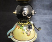 Rosie Bot - found object robot sculpture assemblage by Cheri Kudja with Bitti Bots