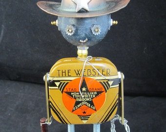 Webster Bot - found object robot sculpture assemblage by Cheri Kudja with Bitti Bots