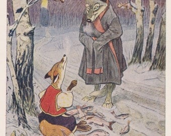 """Postcard Drawing by E. Rachev for Russian Tale """"The Fox and The Wolf"""" -- 1955"""