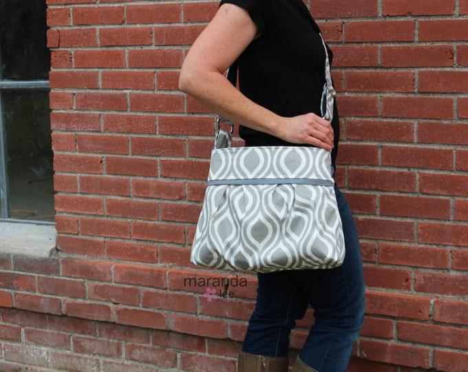 Stella Diaper Bag Medium Purse  - Grey Pod with Grey Lining- 6 pockets Adjustable Strap - Attach to Stroller Custom Made to Order