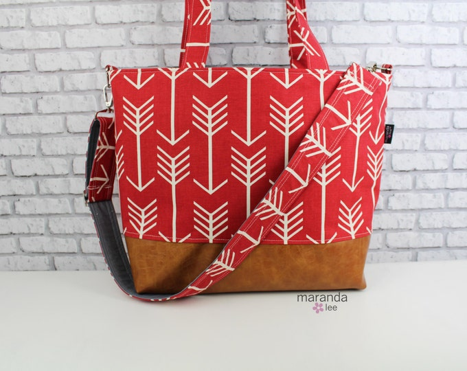 Extra Large Lulu Tote Messenger Diaper Bag- Arrows Red and PU Leather with Grey Lining - 7 pockets Nappy Bag Washable