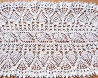 "Oval crochet table runner, oval crochet doily, pineapple doily,  white tablecloth, lale doily, 30""/ 13"""