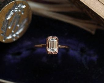 Moissanite Engagement Ring, Sample Sale, Rose Gold Engagement Ring, Emerald Cut Engagement Ring, Solitaire Ring, Art Deco Ring, Under 1,000.