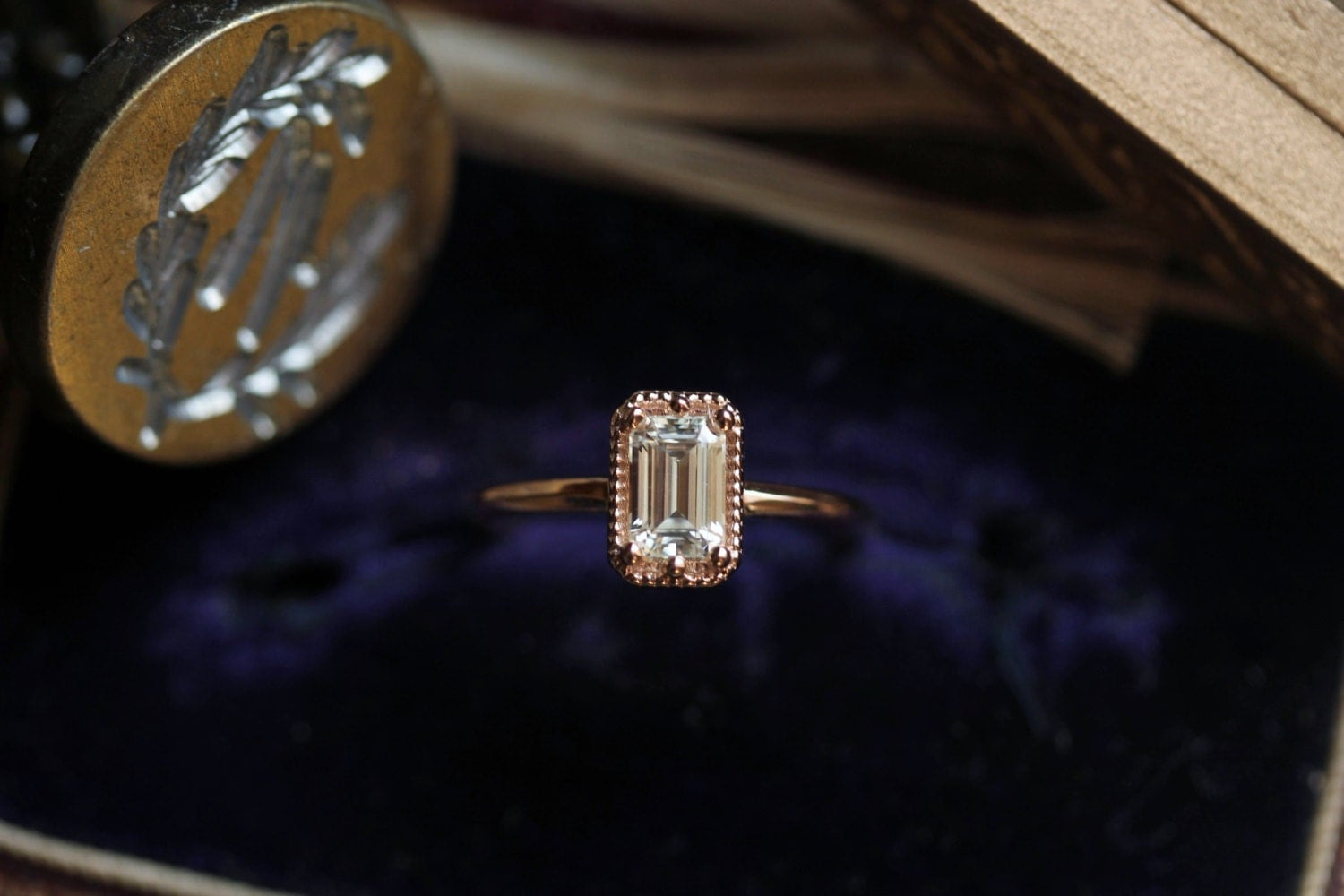 Moissanite Engagement Ring Sample Sale Rose Gold Engagement