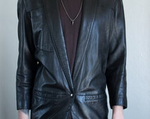 black leather blazer - M