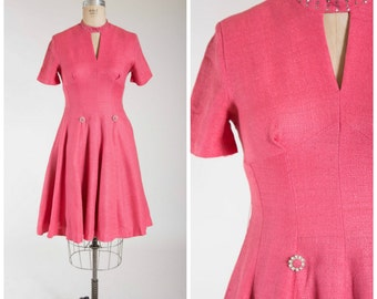 Vintage 1950s Dress • Sultry Smiles • Pink Linen Blend 50s Cocktail Dress with Rhinestone Accents Size Medium