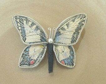 Vintage-Silver-Fabric And Thread Butterfly Pin- Brooch