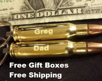 Two Engraved 308 Bullet Keychain groomsmen gift, fathers day or graduation gift for men