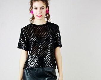 90s Black Sequin Knit Top