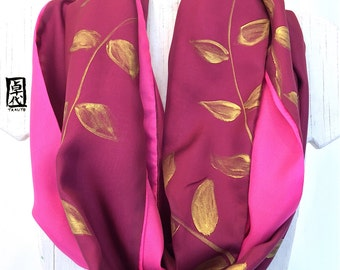 Silk Infinity Scarf Handpainted, Gift for her, Reversible Burgundy Scarf, Circle Scarf Silk, Pink and Gold Vine Leaves Scarf, 14x72 inches