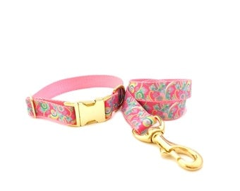 Personalized Pet Collar and Leash, Paisley Dog Collar Set, Pink Collar, Pink Leash, Gold Dog Collar, Preppy