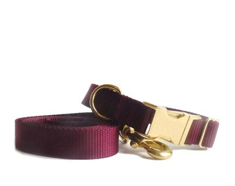 Dog Collar and Leash, Solid Colors